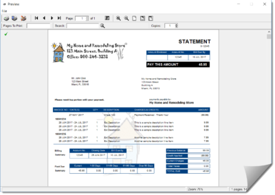 Statement format is completely customizable including adding company logo and watermark to give customer bills that extra professional printer look