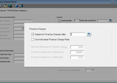Finance charges can be assigned on a customer-by-customer basis or allows you to use system defaults