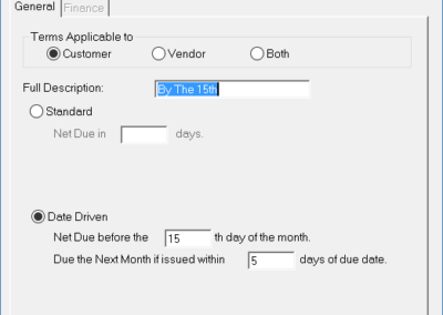 User defined invoice terms entry