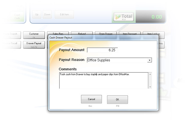 Cash Drawer Payout