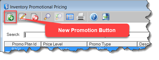 Promotional Pricing New Promo Button