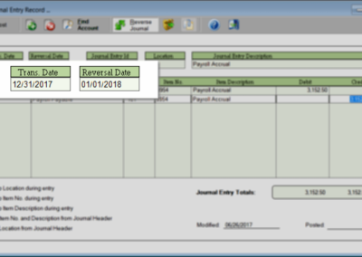 Automatcically reverse specified journal entries on a future date for end of period accruals, adjustments