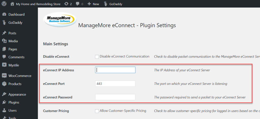 WordPress eConnect Plugin Settings
