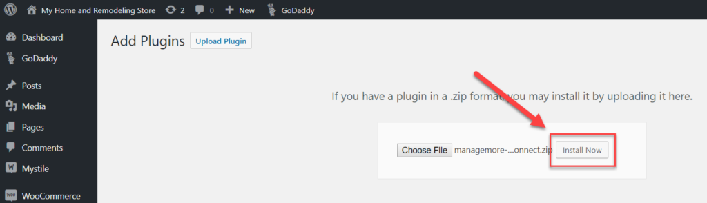 WordPress Install Plugin Button