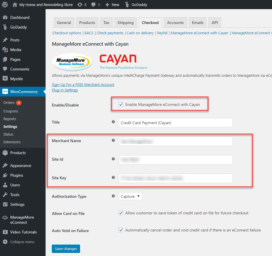 WordPress Payment Gateway Settings