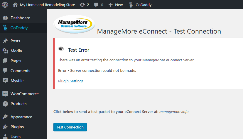 WordPress Test Connection Error