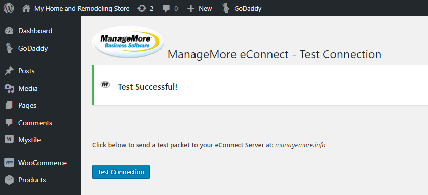 WordPress Test Connection Success
