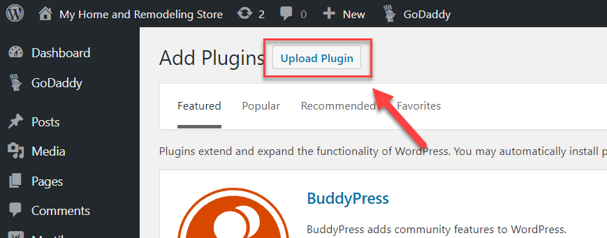 WordPress Upload Plugin Button